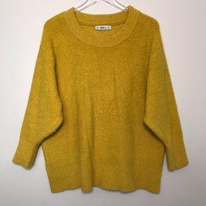 Zara Knit Oversized Chunky Mustard Yellow Sweater